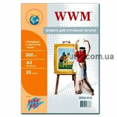 Бумага Fine Art глянцевая 200g/m2, 'Ткань', A3, 20л (GC200.A3.20), WWM